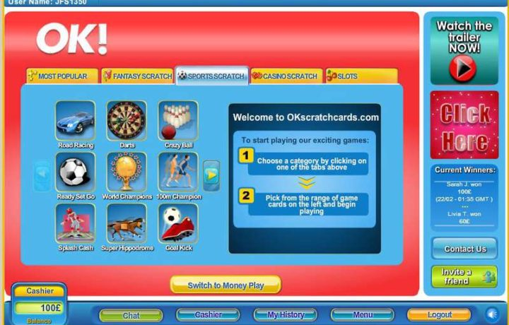 Great Casual Gaming Action at OK Scratchcards